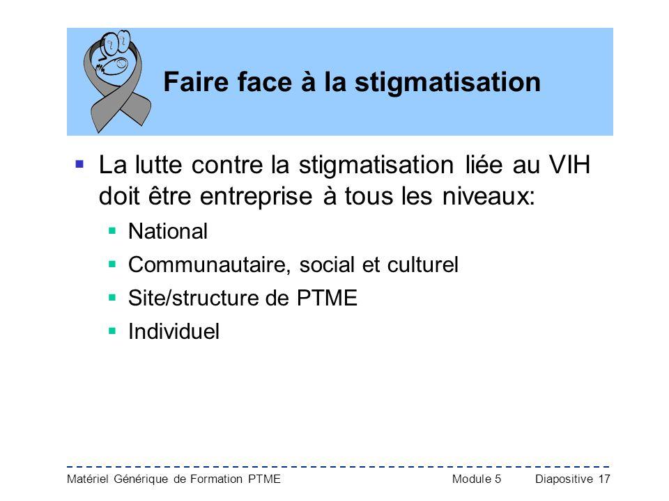 Matériel Générique de Formation PTME Module 5Diapositive 17 Faire face à la stigmatisation La lutte contre la stigmatisation liée au VIH doit être ent