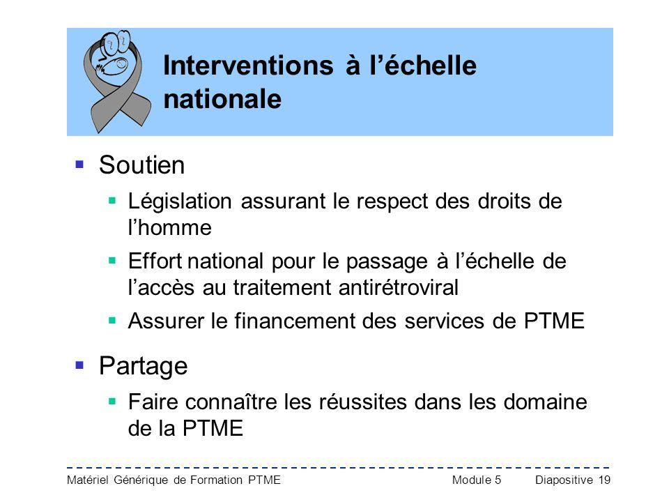 Matériel Générique de Formation PTME Module 5Diapositive 19 Interventions à léchelle nationale Soutien Législation assurant le respect des droits de l