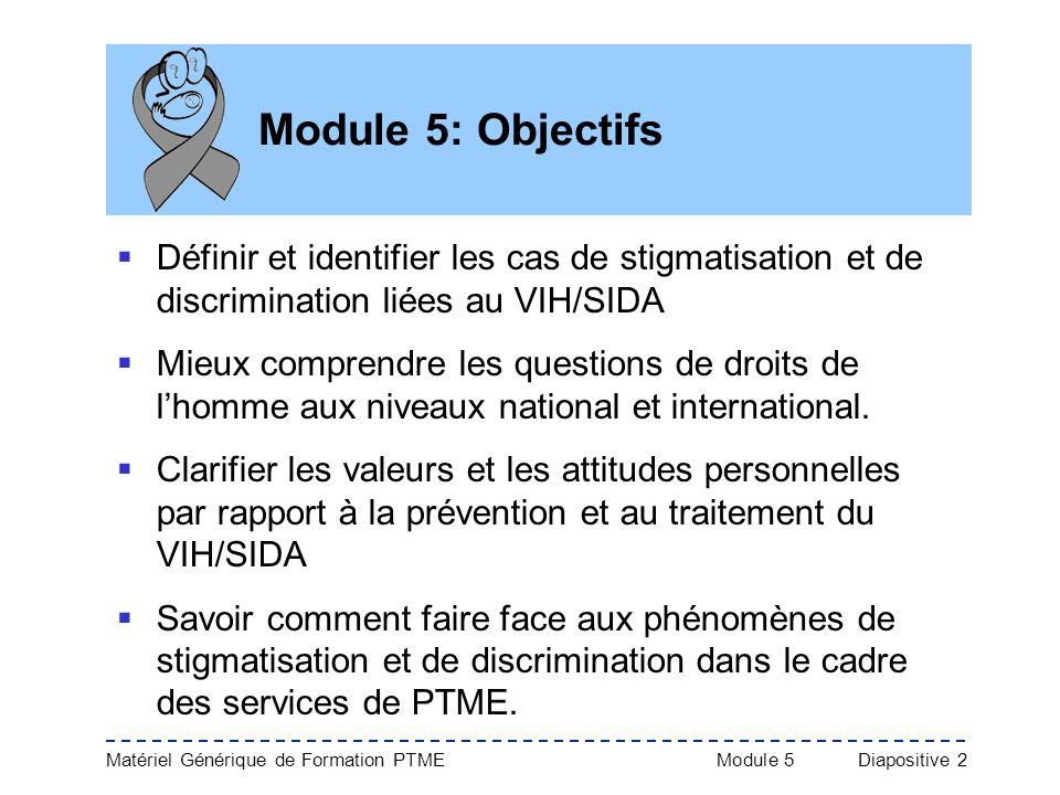Matériel Générique de Formation PTME Module 5Diapositive 2 Module 5: Objectifs Définir et identifier les cas de stigmatisation et de discrimination li