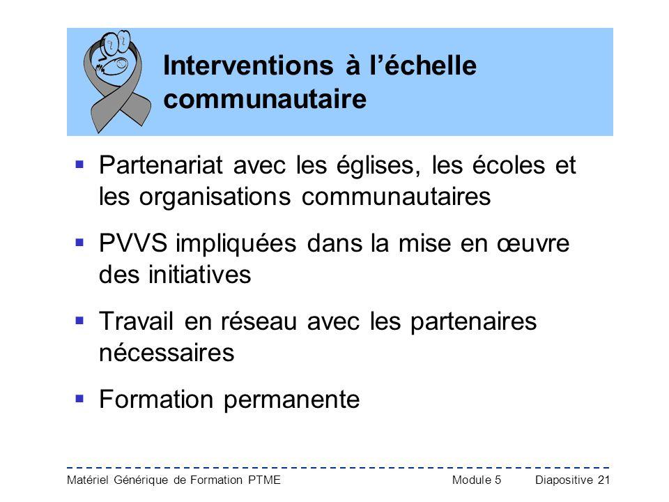 Matériel Générique de Formation PTME Module 5Diapositive 21 Interventions à léchelle communautaire Partenariat avec les églises, les écoles et les org