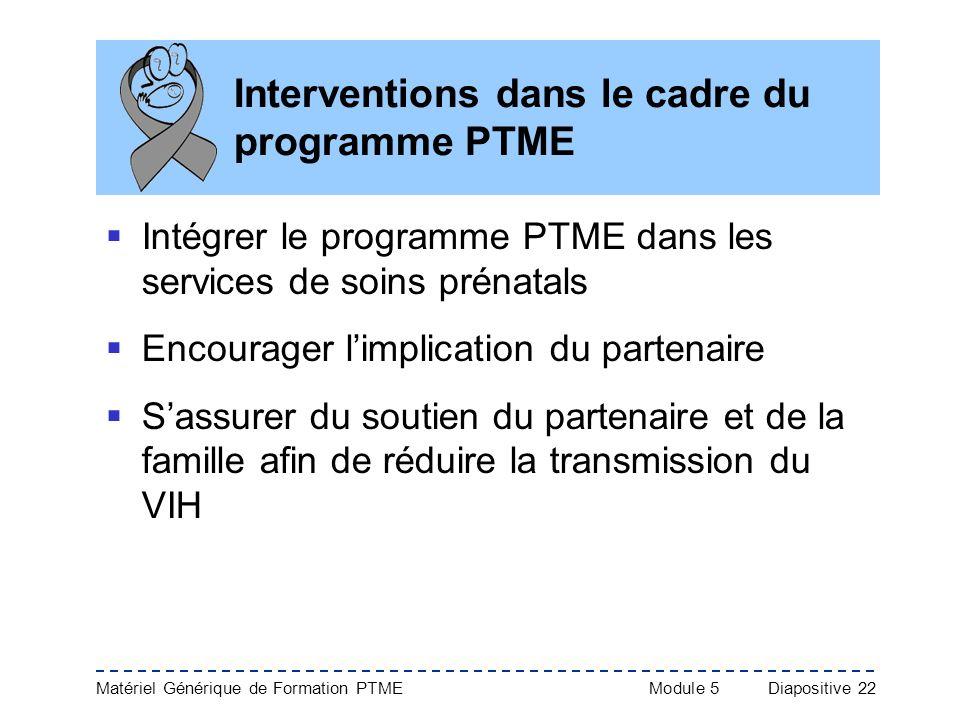 Matériel Générique de Formation PTME Module 5Diapositive 22 Interventions dans le cadre du programme PTME Intégrer le programme PTME dans les services