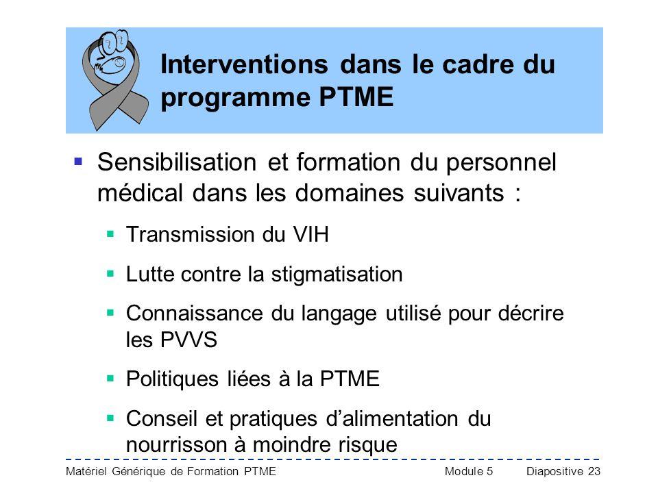 Matériel Générique de Formation PTME Module 5Diapositive 23 Interventions dans le cadre du programme PTME Sensibilisation et formation du personnel mé