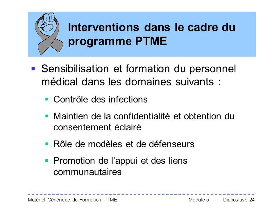 Matériel Générique de Formation PTME Module 5Diapositive 24 Interventions dans le cadre du programme PTME Sensibilisation et formation du personnel mé
