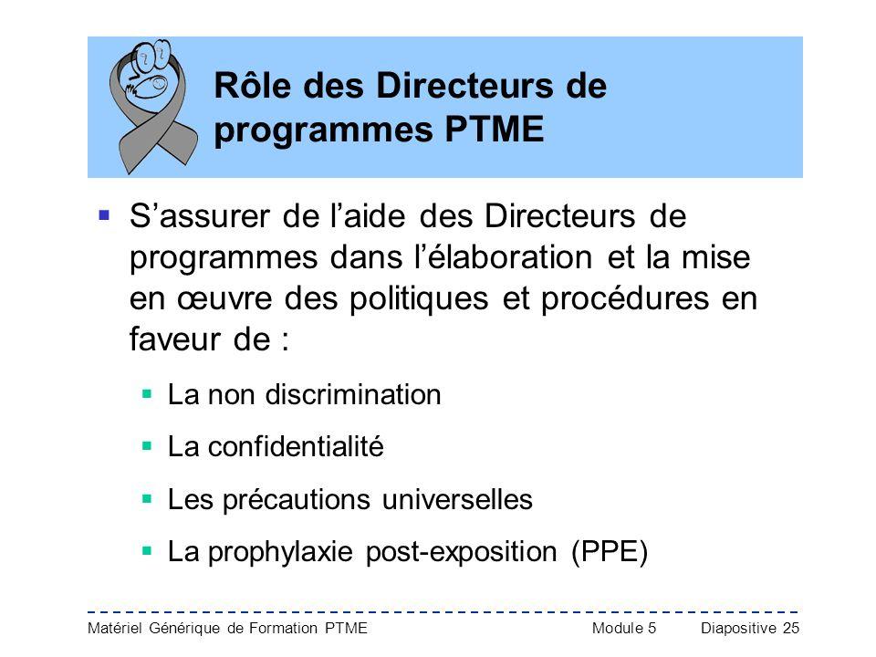 Matériel Générique de Formation PTME Module 5Diapositive 25 Rôle des Directeurs de programmes PTME Sassurer de laide des Directeurs de programmes dans
