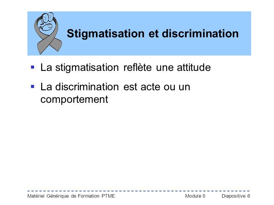 Matériel Générique de Formation PTME Module 5Diapositive 6 Stigmatisation et discrimination La stigmatisation reflète une attitude La discrimination e