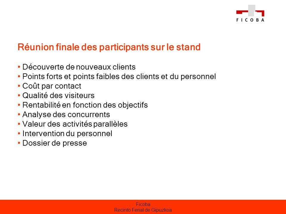 Ficoba Recinto Ferial de Gipuzkoa Réunion finale des participants sur le stand Découverte de nouveaux clients Points forts et points faibles des clien