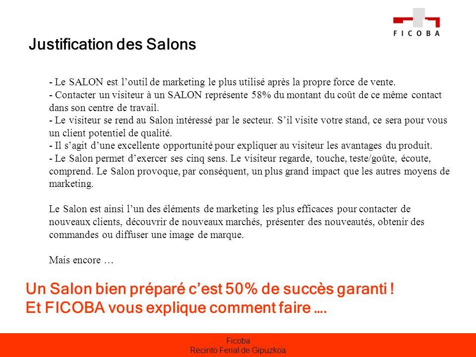 Ficoba Recinto Ferial de Gipuzkoa Justification des Salons - Le SALON est loutil de marketing le plus utilisé après la propre force de vente. - Contac