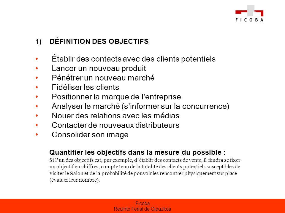 Ficoba Recinto Ferial de Gipuzkoa 2) PRÉPARATION DU STAND Veiller à la cohérence du stand avec la stratégie de marketing de lexposant Décider quels produits exposer.