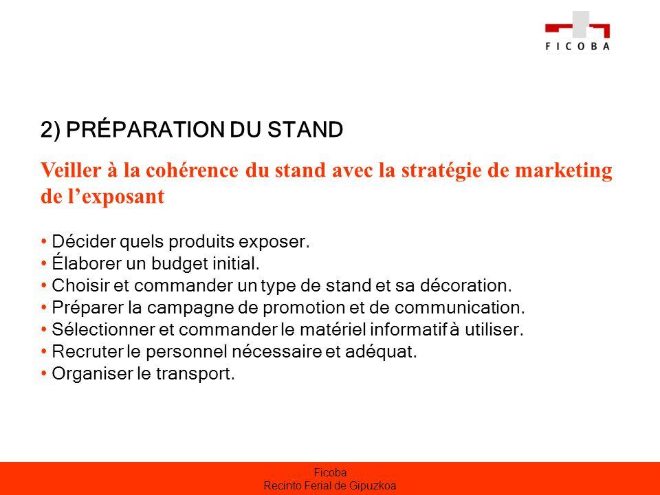Ficoba Recinto Ferial de Gipuzkoa 2) PRÉPARATION DU STAND Veiller à la cohérence du stand avec la stratégie de marketing de lexposant Décider quels pr