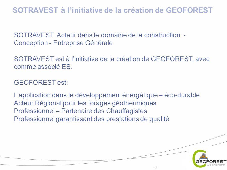 11 SOTRAVEST Acteur dans le domaine de la construction - Conception - Entreprise Générale SOTRAVEST est à linitiative de la création de GEOFOREST, ave