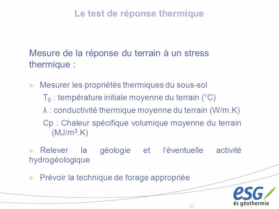 22 Le test de réponse thermique Mesure de la réponse du terrain à un stress thermique : > Mesurer les propriétés thermiques du sous-sol T 0 : températ