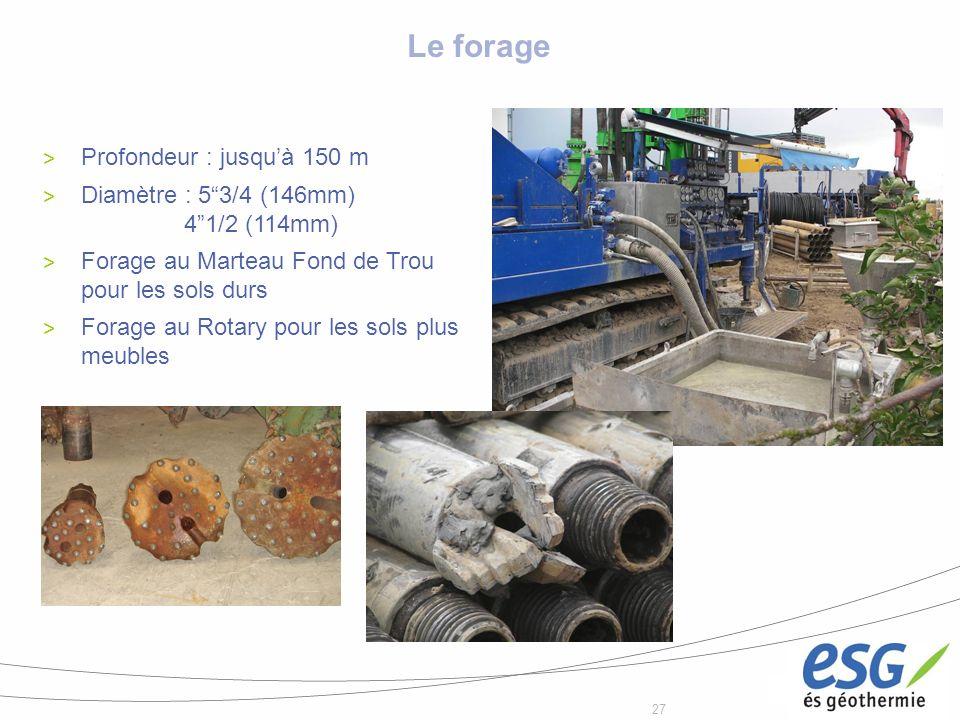 27 Le forage > Profondeur : jusquà 150 m > Diamètre : 53/4 (146mm) 41/2 (114mm) > Forage au Marteau Fond de Trou pour les sols durs > Forage au Rotary