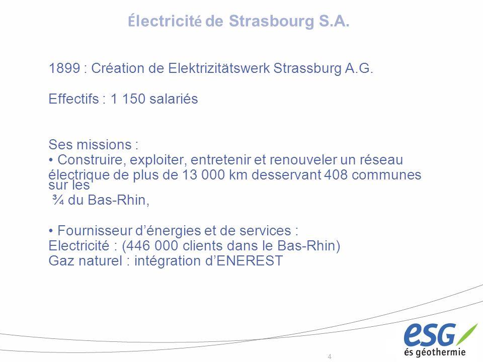 44 1899 : Création de Elektrizitätswerk Strassburg A.G. Effectifs : 1 150 salariés Ses missions : Construire, exploiter, entretenir et renouveler un r