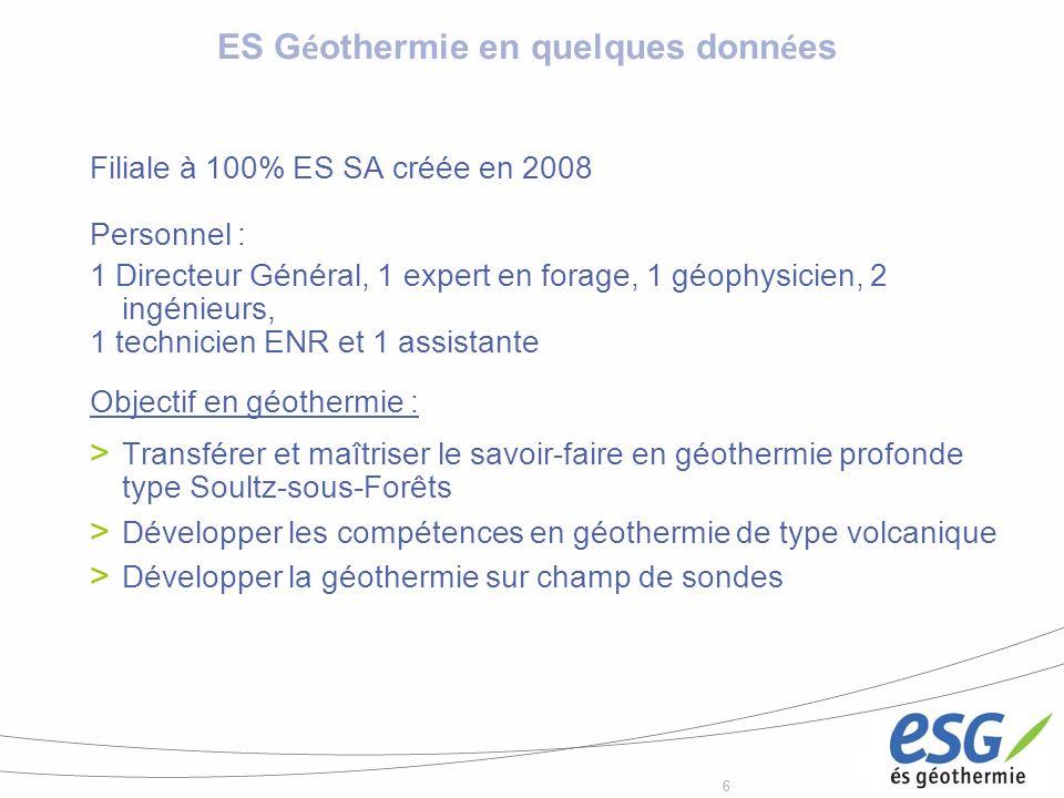 66 Filiale à 100% ES SA créée en 2008 Personnel : 1 Directeur Général, 1 expert en forage, 1 géophysicien, 2 ingénieurs, 1 technicien ENR et 1 assista