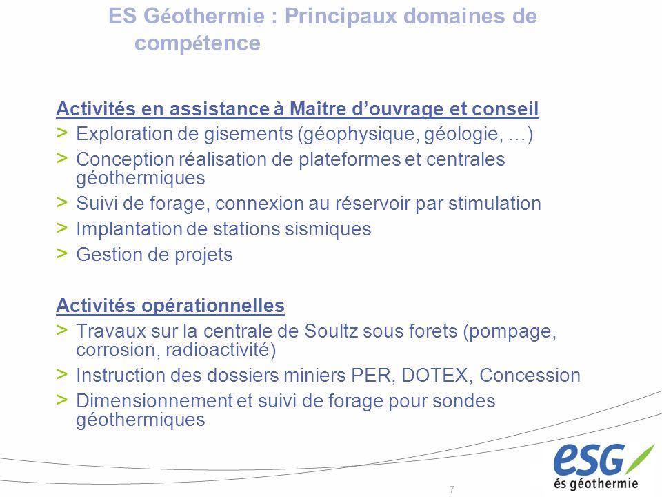 77 ES G é othermie : Principaux domaines de comp é tence Activités en assistance à Maître douvrage et conseil Exploration de gisements (géophysique, g