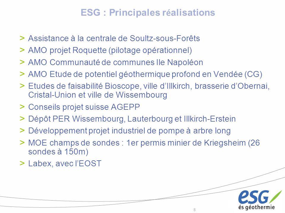 88 ESG : Principales r é alisations Assistance à la centrale de Soultz-sous-Forêts AMO projet Roquette (pilotage opérationnel) AMO Communauté de commu