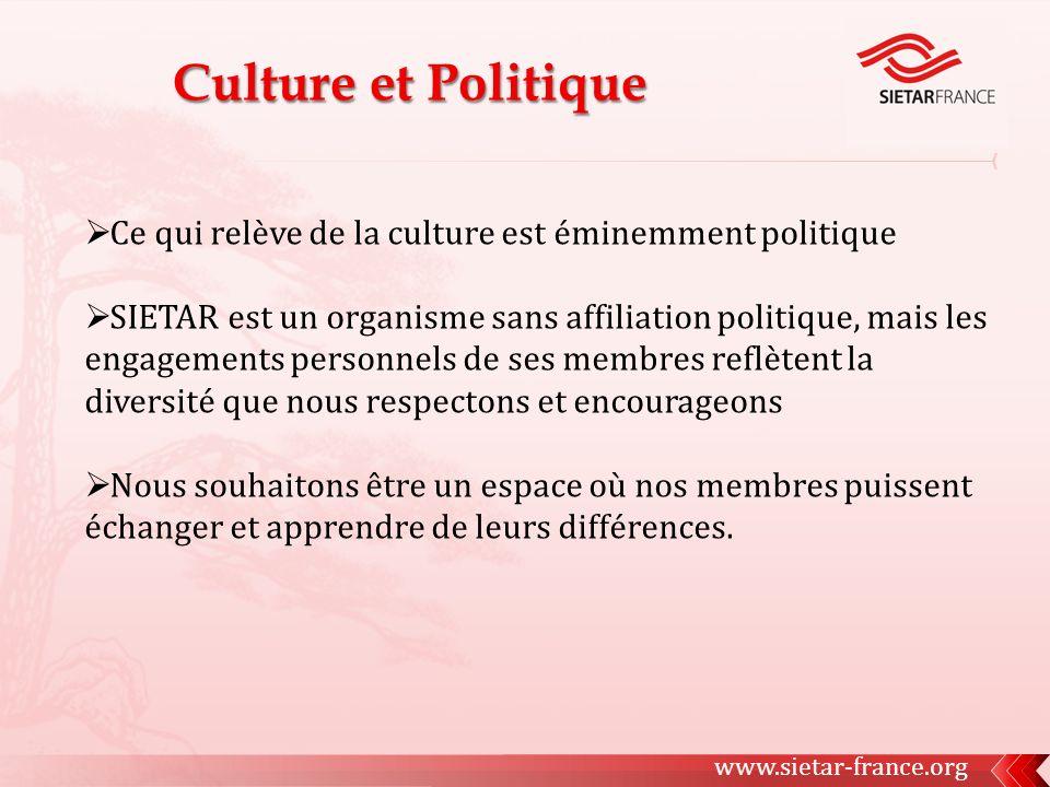 Ce qui relève de la culture est éminemment politique SIETAR est un organisme sans affiliation politique, mais les engagements personnels de ses membres reflètent la diversité que nous respectons et encourageons Nous souhaitons être un espace où nos membres puissent échanger et apprendre de leurs différences.