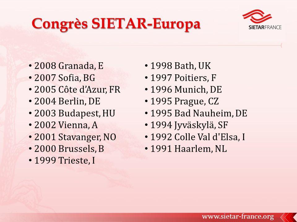 2008 Granada, E 2007 Sofia, BG 2005 Côte dAzur, FR 2004 Berlin, DE 2003 Budapest, HU 2002 Vienna, A 2001 Stavanger, NO 2000 Brussels, B 1999 Trieste,