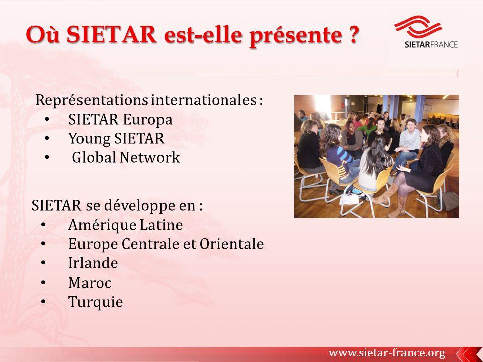 Représentations internationales : SIETAR Europa Young SIETAR Global Network SIETAR se développe en : Amérique Latine Europe Centrale et Orientale Irlande Maroc Turquie www.sietar-france.org