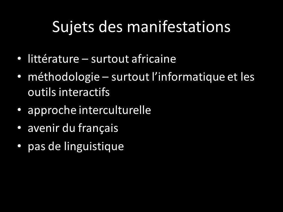 Sujets des manifestations littérature – surtout africaine méthodologie – surtout linformatique et les outils interactifs approche interculturelle avenir du français pas de linguistique