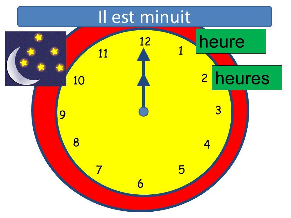 1 2 3 4 5 6 7 8 9 10 11 12 1 5 4 9 3 6 10 11 2 7 8 heure heures Il est minuit