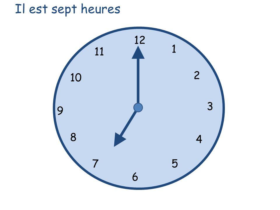 Il est sept heures 12 1 5 4 9 3 6 10 11 2 7 8
