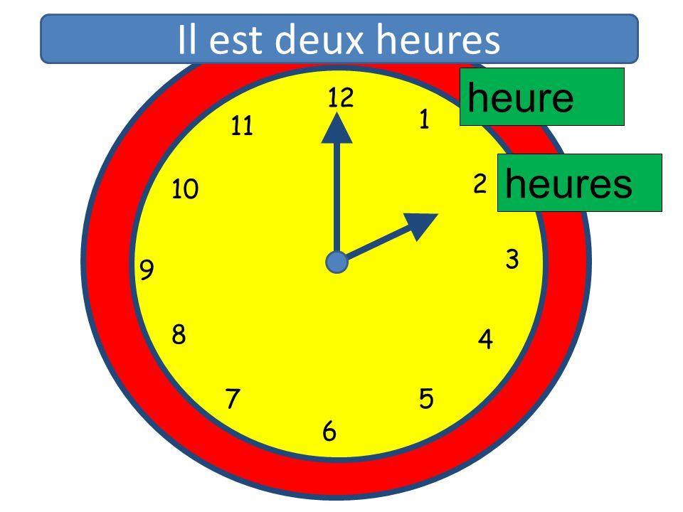 1 2 3 4 5 6 7 8 9 10 11 12 1 5 4 9 3 6 10 11 2 7 8 heure heures Il est deux heures