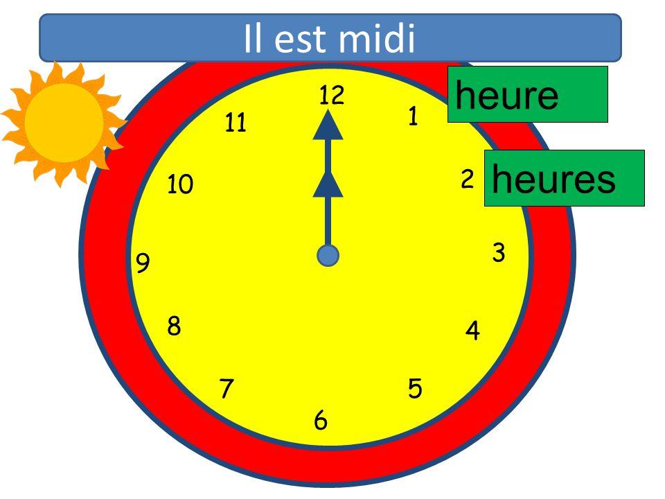 1 2 3 4 5 6 7 8 9 10 11 12 1 5 4 9 3 6 10 11 2 7 8 heure heures Il est midi