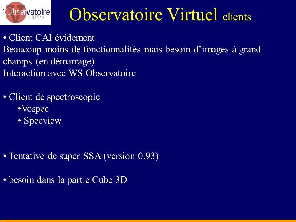 Observatoire Virtuel clients Client CAI évidement Beaucoup moins de fonctionnalités mais besoin dimages à grand champs (en démarrage) Interaction avec