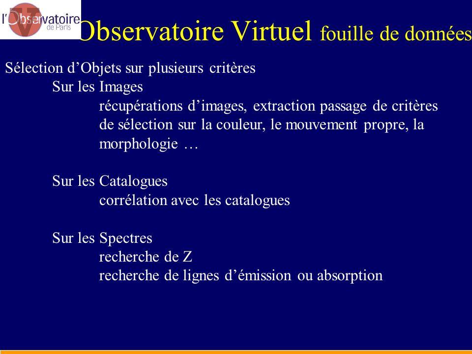 Observatoire Virtuel fouille de données Sélection dObjets sur plusieurs critères Sur les Images récupérations dimages, extraction passage de critères