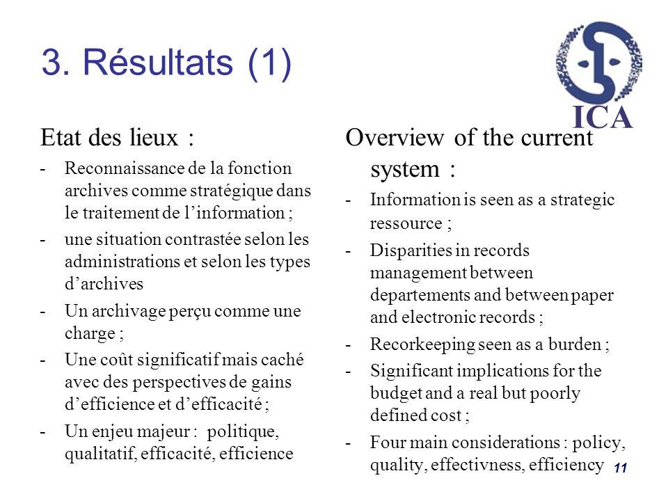 ICA 3. Résultats (1) 11 Etat des lieux : -Reconnaissance de la fonction archives comme stratégique dans le traitement de linformation ; -une situation