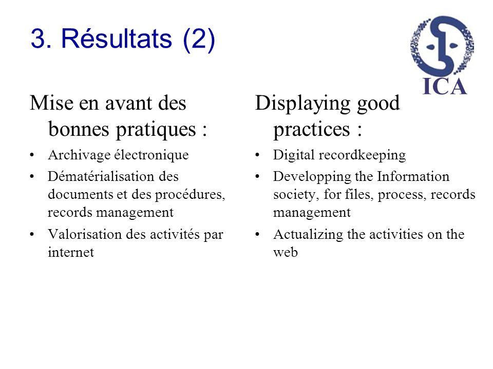 ICA 3. Résultats (2) Mise en avant des bonnes pratiques : Archivage électronique Dématérialisation des documents et des procédures, records management