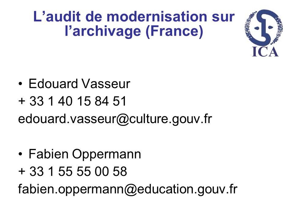 ICA Laudit de modernisation sur larchivage (France) Edouard Vasseur + 33 1 40 15 84 51 edouard.vasseur@culture.gouv.fr Fabien Oppermann + 33 1 55 55 0