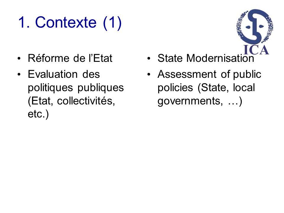 ICA 1. Contexte (1) Réforme de lEtat Evaluation des politiques publiques (Etat, collectivités, etc.) State Modernisation Assessment of public policies