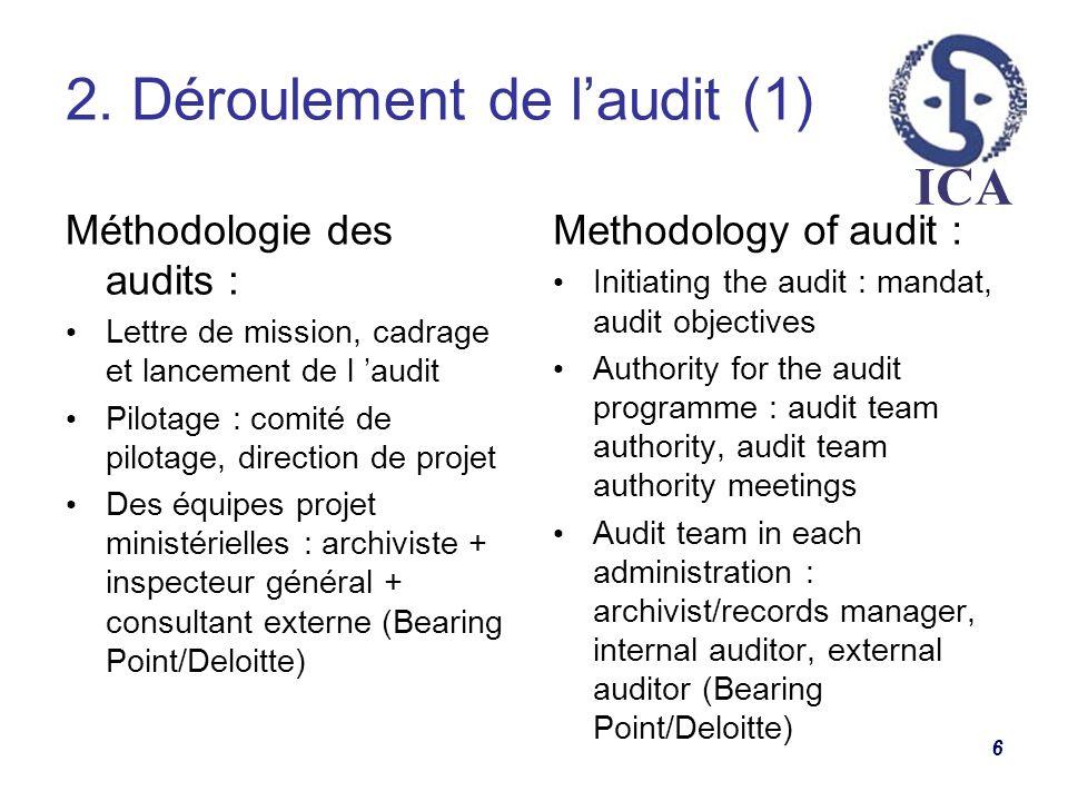 ICA 2. Déroulement de laudit (1) 6 Méthodologie des audits : Lettre de mission, cadrage et lancement de l audit Pilotage : comité de pilotage, directi