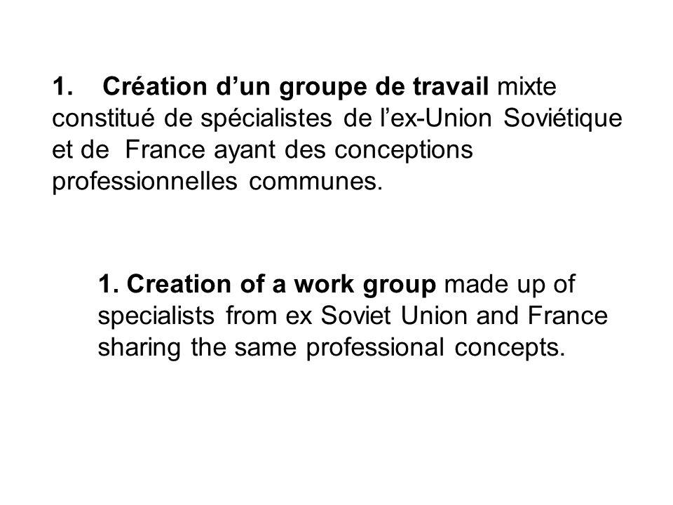 1. Création dun groupe de travail mixte constitué de spécialistes de lex-Union Soviétique et de France ayant des conceptions professionnelles communes