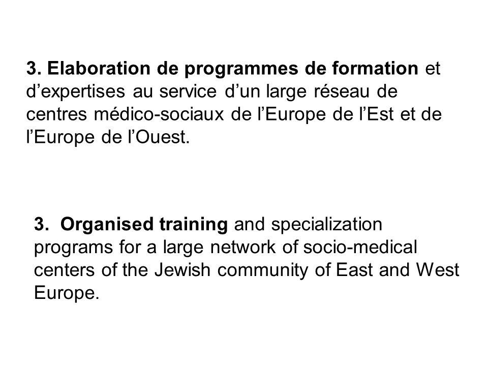 3. Elaboration de programmes de formation et dexpertises au service dun large réseau de centres médico-sociaux de lEurope de lEst et de lEurope de lOu