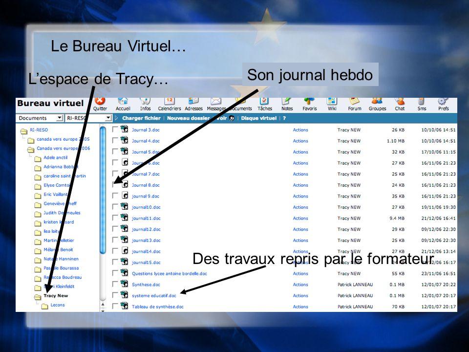 Le Bureau Virtuel… Lespace de Tracy… Son journal hebdo Des travaux repris par le formateur
