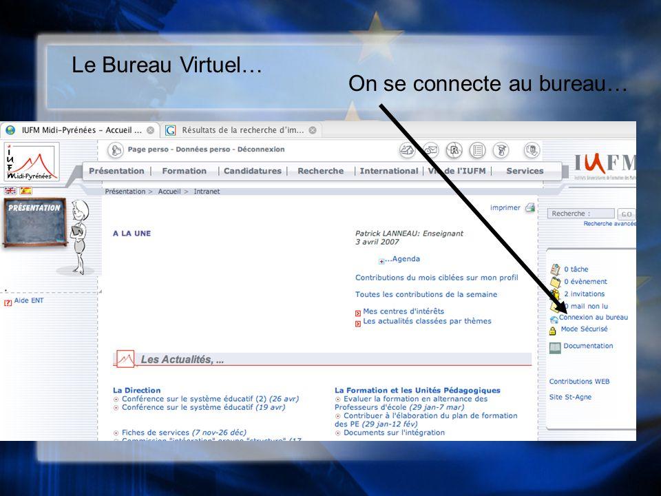 Le Bureau Virtuel… On se connecte au bureau…