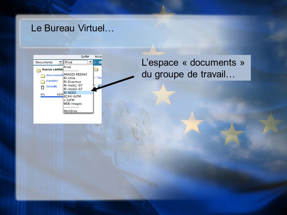 Le Bureau Virtuel… Lespace « documents » du groupe de travail…