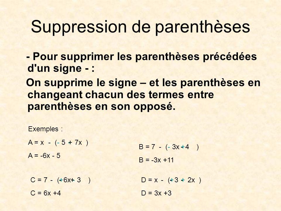 Suppression de parenthèses - Pour supprimer les parenthèses précédées d'un signe - : On supprime le signe – et les parenthèses en changeant chacun des