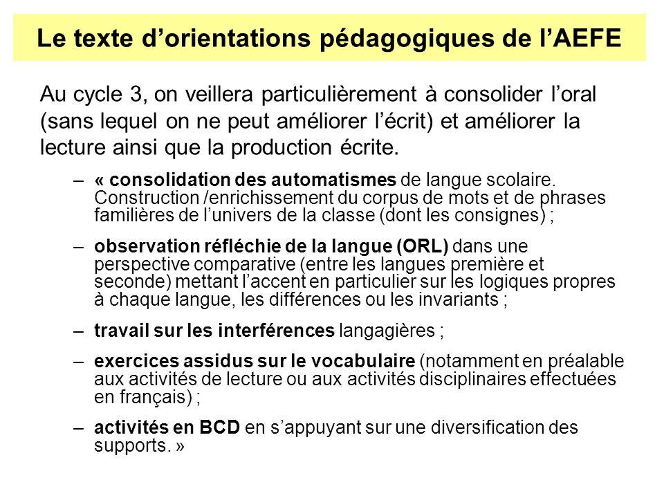 Au cycle 3, on veillera particulièrement à consolider loral (sans lequel on ne peut améliorer lécrit) et améliorer la lecture ainsi que la production