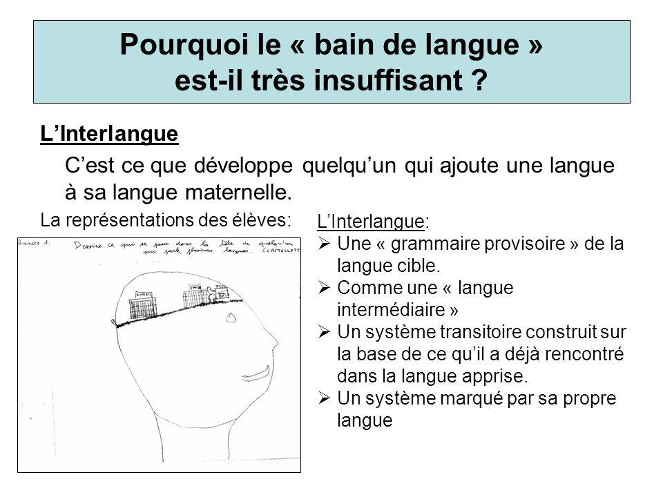 LInterlangue Cest ce que développe quelquun qui ajoute une langue à sa langue maternelle. La représentations des élèves: Pourquoi le « bain de langue