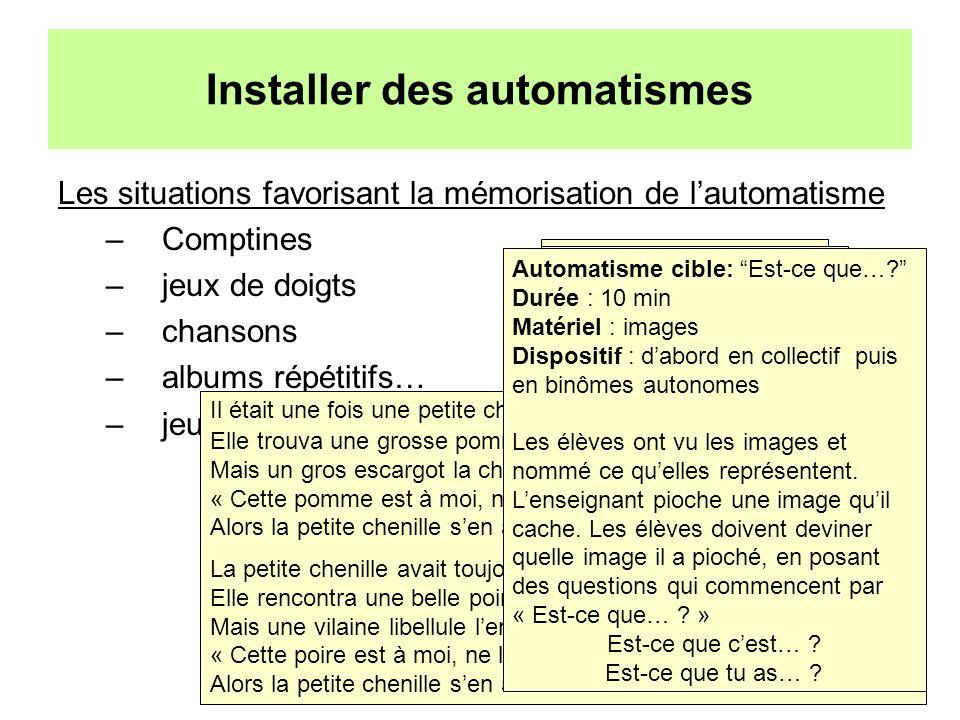 Installer des automatismes Les situations favorisant la mémorisation de lautomatisme –Comptines –jeux de doigts –chansons –albums répétitifs… –jeux de