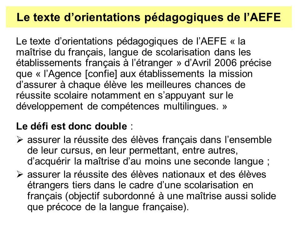 Le texte dorientations pédagogiques de lAEFE « la maîtrise du français, langue de scolarisation dans les établissements français à létranger » dAvril