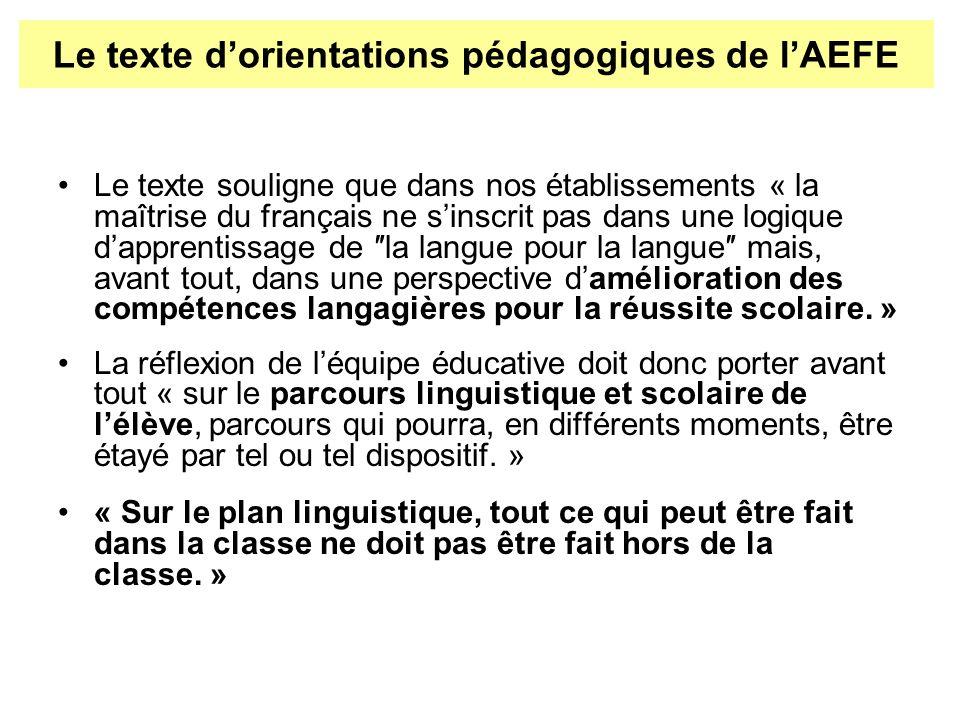 Le texte souligne que dans nos établissements « la maîtrise du français ne sinscrit pas dans une logique dapprentissage de la langue pour la langue ma