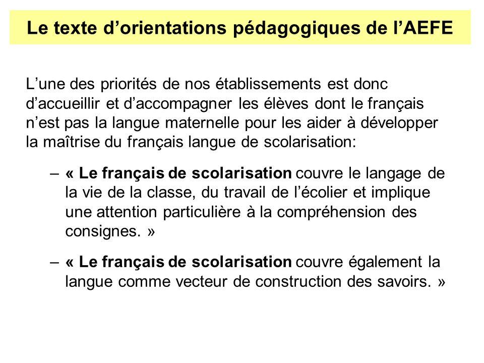Lune des priorités de nos établissements est donc daccueillir et daccompagner les élèves dont le français nest pas la langue maternelle pour les aider