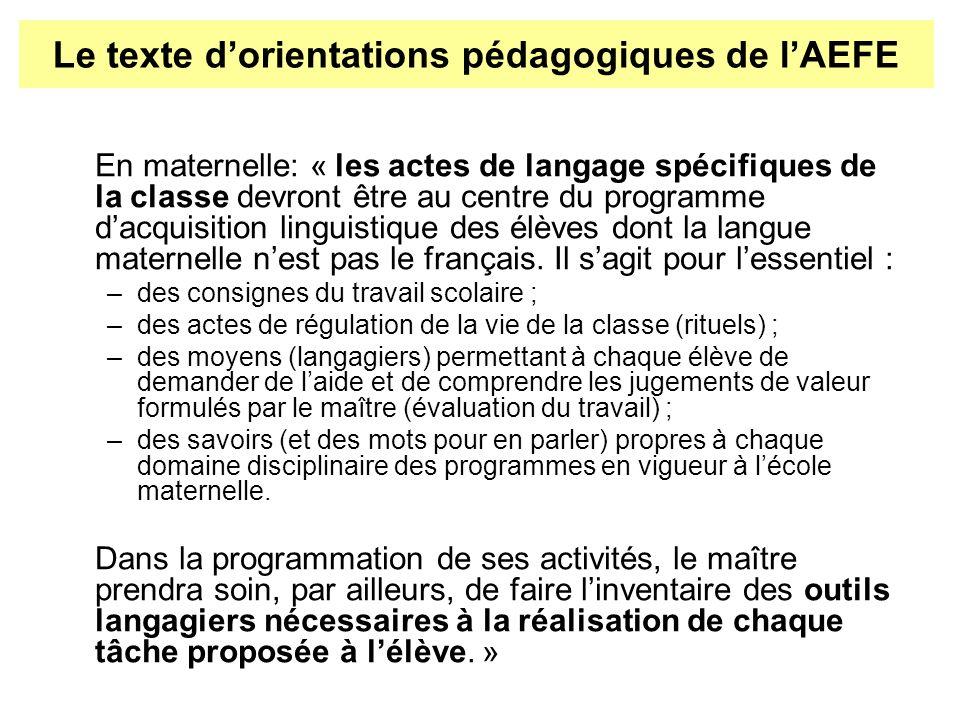 En maternelle: « les actes de langage spécifiques de la classe devront être au centre du programme dacquisition linguistique des élèves dont la langue