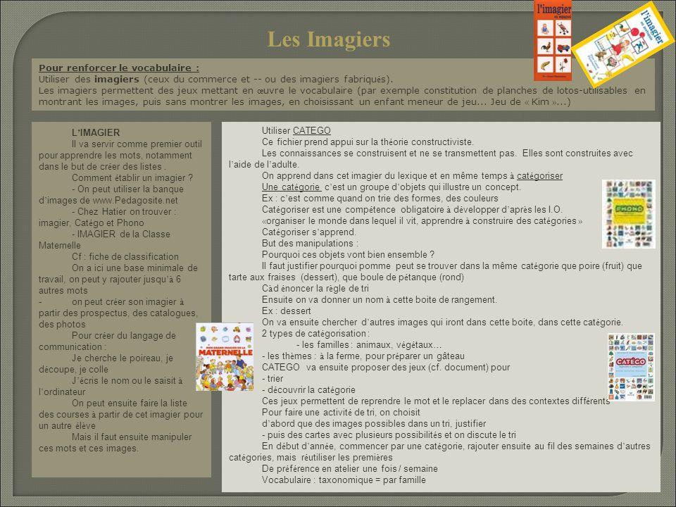 Pour renforcer le vocabulaire : Utiliser des imagiers (ceux du commerce et -- ou des imagiers fabriqu é s). Les imagiers permettent des jeux mettant e