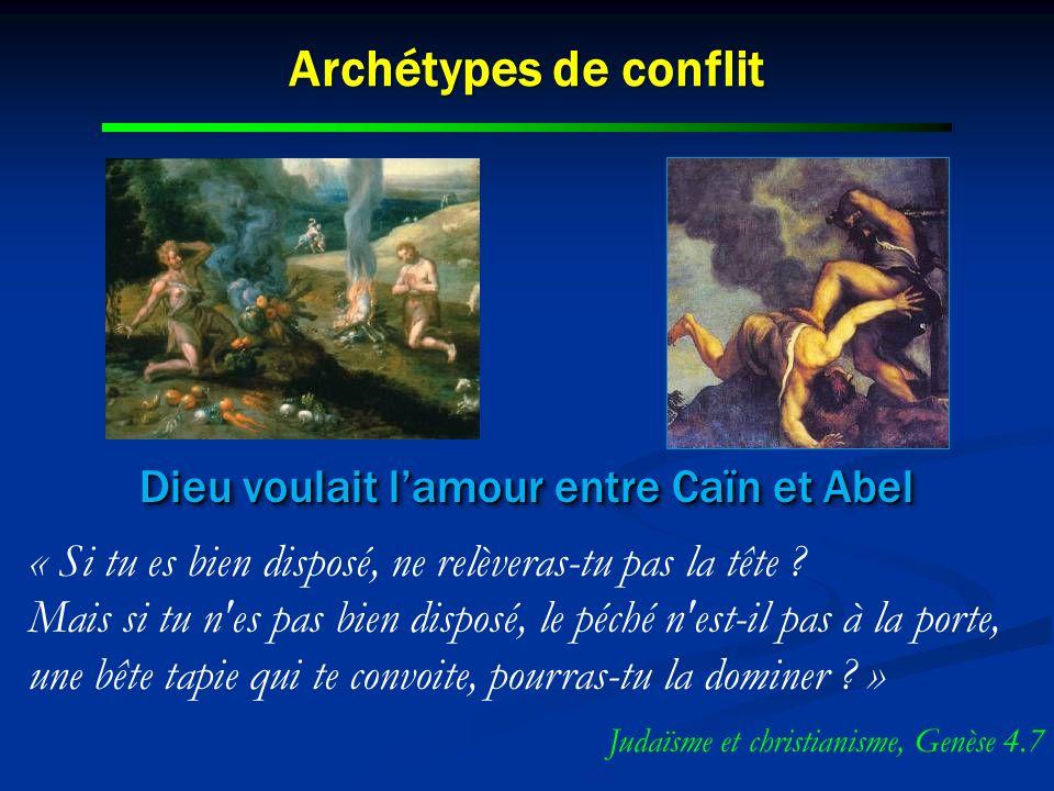 Archétypes de conflit Dieu voulait lamour entre Caïn et Abel « Si tu es bien disposé, ne relèveras-tu pas la tête ? Mais si tu n'es pas bien disposé,
